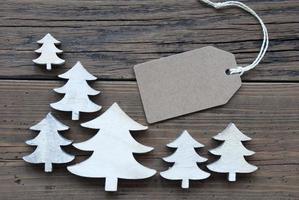 rótulo e árvores de Natal com espaço de cópia foto