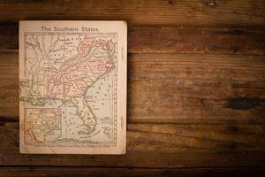 1867, mapa de cores dos estados do sul (unidos), com espaço para texto