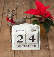 data de véspera de Natal no calendário. 24 de dezembro. flor de poinsétia foto