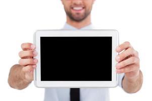 Copie o espaço no tablet digital.