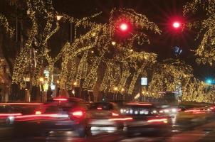 corda leve decorado árvores com carros à noite foto