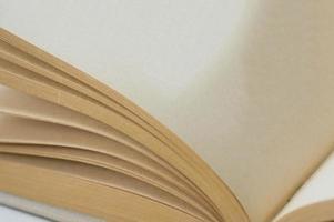 livro aberto para uma página em branco close-up