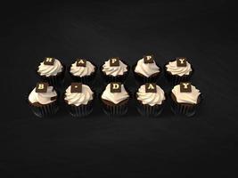 cupcakes de feliz aniversário em fundo de quadro de giz