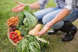 agricultor bonito com cesta de legumes foto