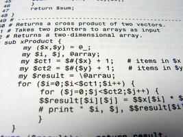 close-up de um código de programação preto na escrita branca foto