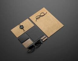 elementos de identidade visual em fundo preto foto