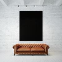 foto de tela vazia preta no fundo da parede de tijolo