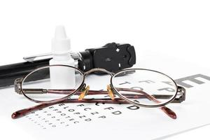 oftalmoscópio, sehtest und brille foto