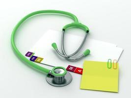 registros médicos e estetoscópio foto