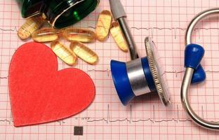 estetoscópio, gráfico de eletrocardiograma, comprimidos e forma do coração