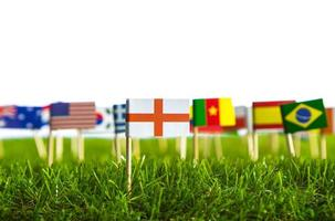 corte de papel de bandeiras na grama para o campeonato de futebol 2014 foto