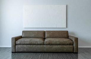 tela em branco e sofá maquete - ilustração 3d