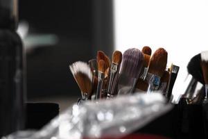 pincéis de maquiagem, closeup