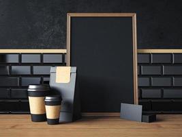 poster preto na mesa com elementos orgânicos em branco. Renderização em 3d