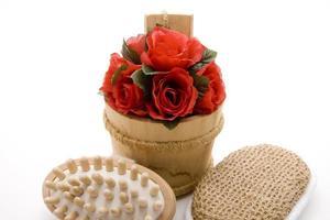 escova de massagem com esponja e rosas