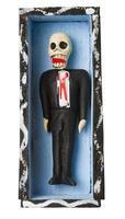 dia da figura morta. esqueleto no caixão