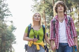 jovem casal olhando para longe enquanto caminhadas na floresta foto