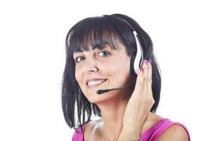 operador de telefone de suporte de mulher foto