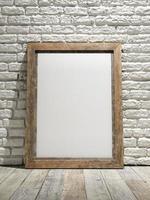 nterior eith quadro cartaz plano de fundo, parede de tijolo branco