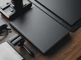 conjunto de elementos em branco de negócios em cima da mesa. 3d rendem foto