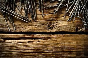 brocas em um fundo de madeira