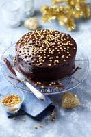 bolo de chocolate escuro com cobertura de chocolate para o Natal