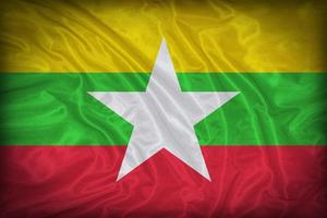 padrão de bandeira de Mianmar sobre a textura do tecido, estilo vintage