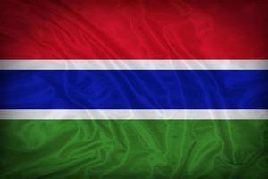 padrão de bandeira da Gâmbia sobre a textura do tecido, estilo vintage foto