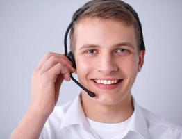 tiro de um operador de call center foto