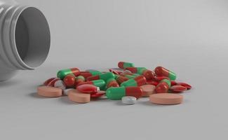 frasco de medicamento e medicamentos foto