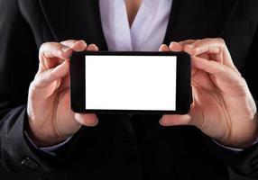 empresário, mostrando o telefone móvel foto