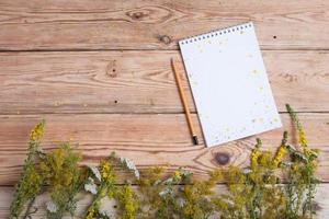 bloco de notas e ervas medicinais na mesa de madeira - medicin alternativo foto