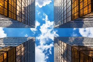 os edifícios corporativos modernos de hong kong