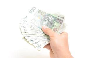 notas de moeda polaca foto