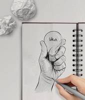 lâmpada desenhada mão com palavra idéia foto