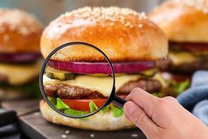 lupa examinando hambúrguer foto