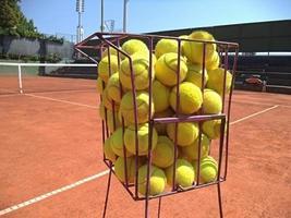 bolas de tênis na cesta foto