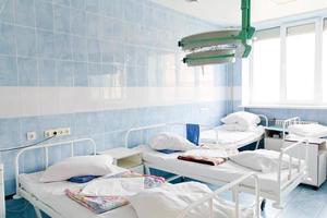 interior da câmara do hospital sem enfermos foto