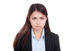 jovem empresária asiática com muita raiva foto
