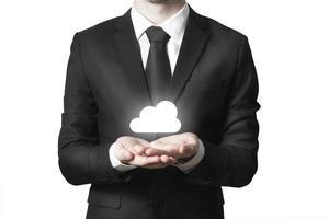 empresário, servindo, gesto, nuvem, símbolo foto