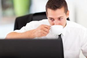 executivo de negócios, tomando café foto