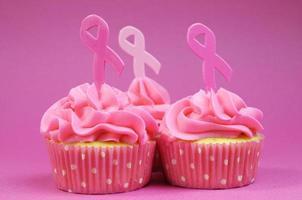 cupcakes de caridade de fita rosa close-up. foto