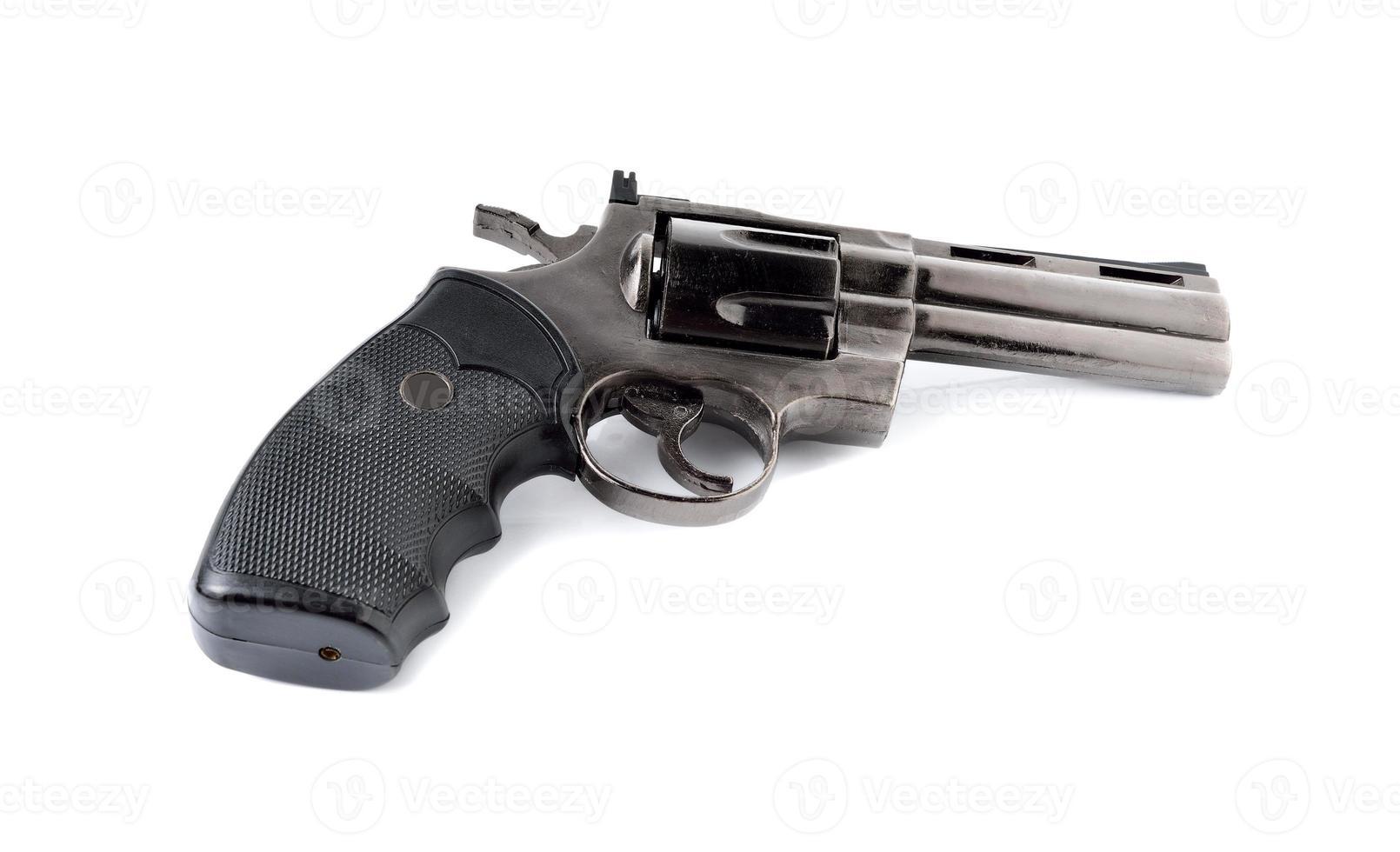 Spielzeugpistole 357 Magnum Revolver auf weißem Hintergrund foto