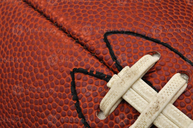 Nahaufnahme der Fußballstruktur mit Schnürsenkeln foto