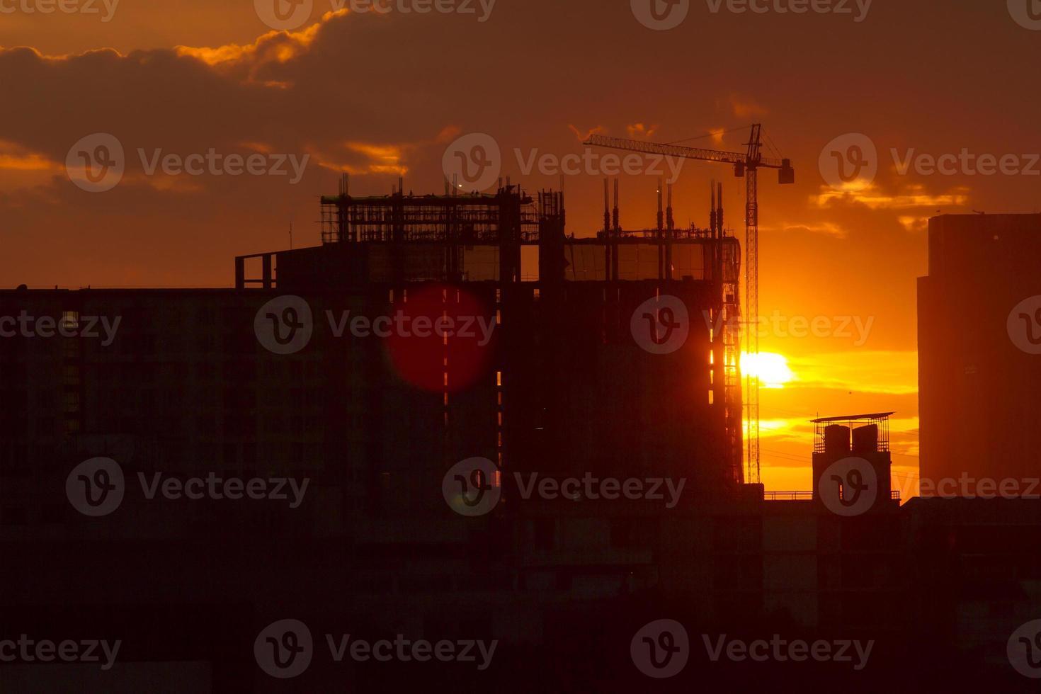 Stadtbau Sonnenuntergang Hintergrund foto