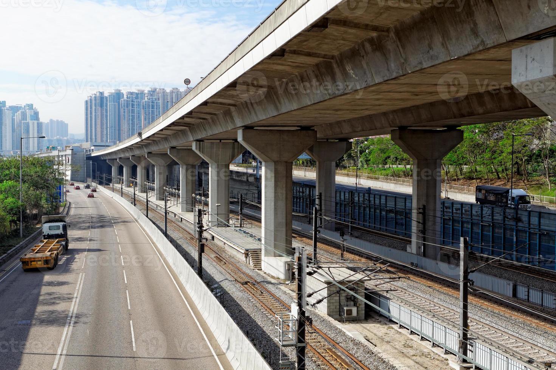 Verkehrsnacht in der Innenstadt, Hongkong foto