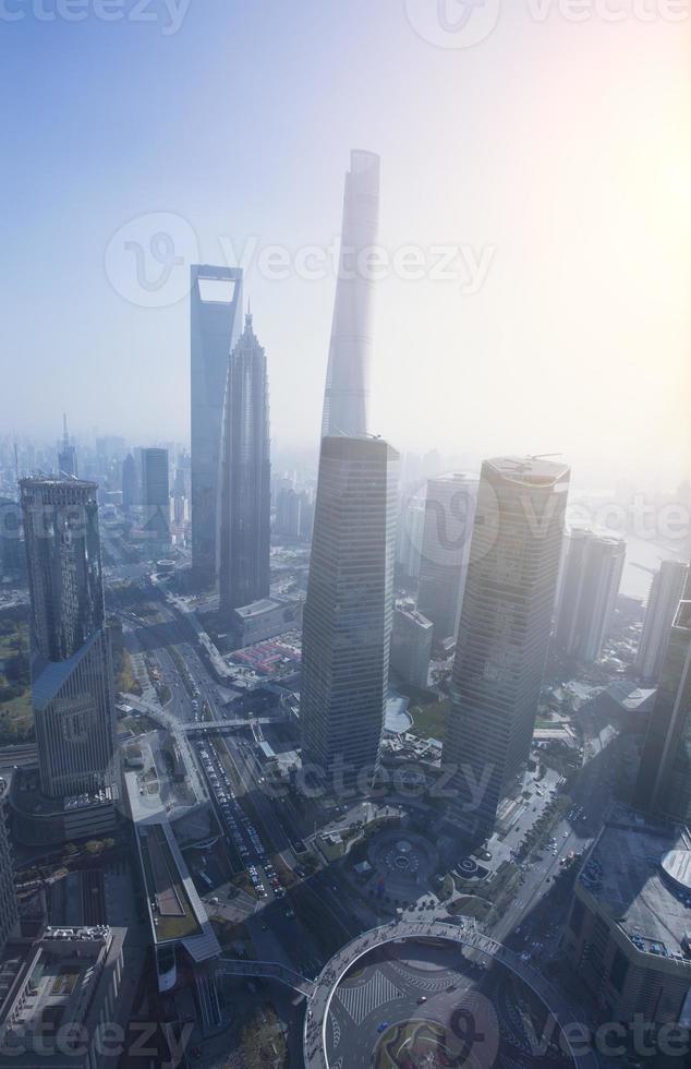 Vogelperspektive des Finanzzentrums Shanghai Lujiazui foto