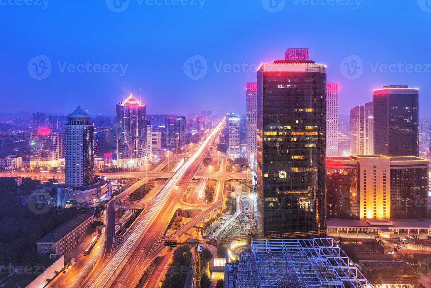 Dunst in Peking cbd Skyline Sonnenuntergang, Nachtszene foto