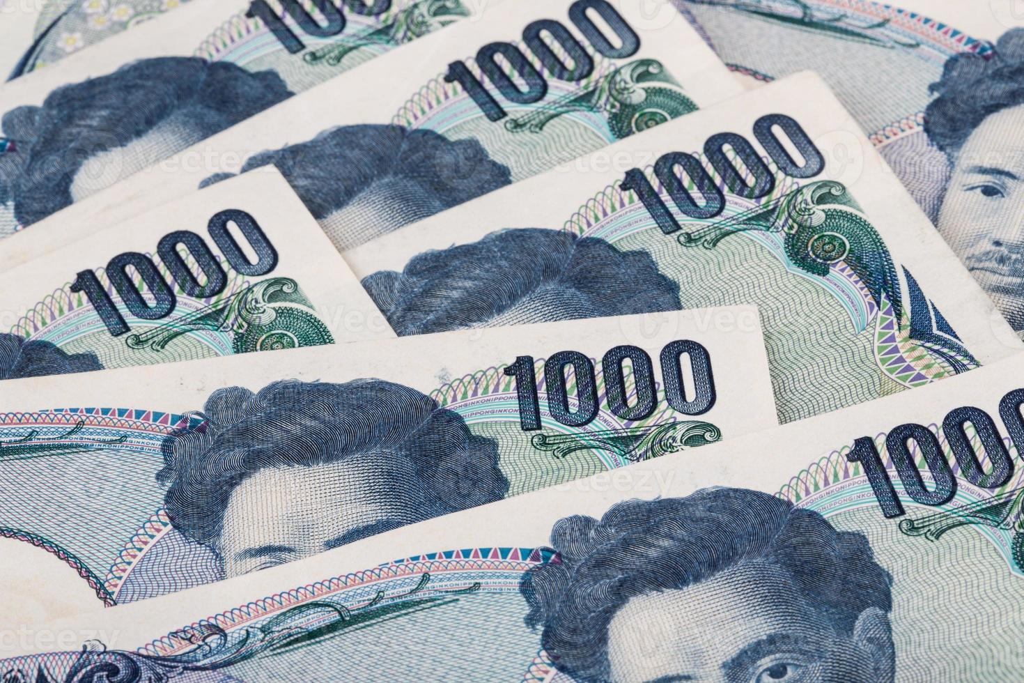 Stapel japanischer Währung Yen oder japanische Banknoten foto