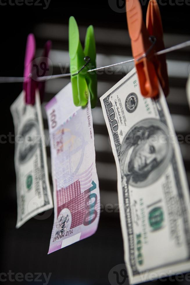 Aserbaidschanisches Manat und Dollar foto